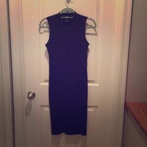 Mock neck midi length fitted dress
